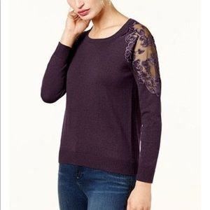 Purple Laced Shoulder Sweater